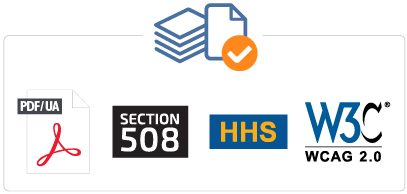 NetCentric Technologies - CommonLook Service - Compliant with ISO 14289-1 / PDFUA, U.S. Section 508, U.S. HHS, WCAG2.0/2.1 - Combo Icons
